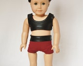 """American Girl 18"""" Doll  -  Cheerleader Sports Bra and Shorts - Black Mystique and Maroon"""