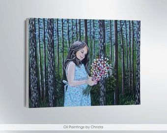 Girl painting GIRL with flowers Oil painting Forest painting Kids room Nursery art Landscape Wall art Girl portrait Canvas Flowers in hands