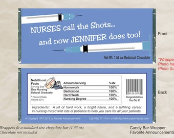 Nurses Call the Shots, Graduation Party Favors, Nursing School, Graduation, Party Favors, Party Ideas, Custom Candy (Set of 12)(WNurse)