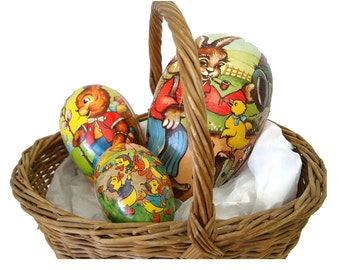 Vintage nesting paper mache Easter eggs, (Qty 3), marked West Germany, circa 1940's