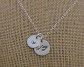 Sterling Silver Music and Heart Necklace, Music Note Necklace, Heart Necklace, Hand Stamped Music Note Necklace, Music Lover Necklace