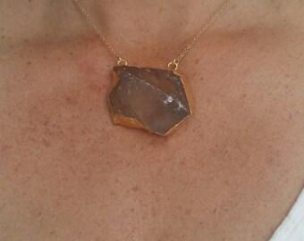 Statement Necklace, Smoky Quartz, 14K Gold Edge, Quartz Necklace, Gold Fill Chain