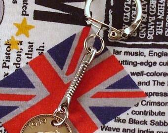 1939 British Farthing Coin Keyring Key Chain Fob King George VI Wren