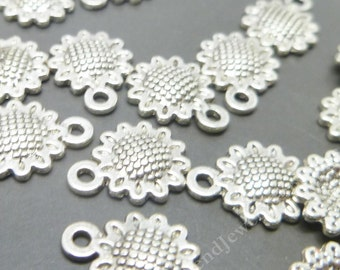 20 Silver  Sunflower Charms - Flower Charms  - Antique Silver Charms  -MC0461
