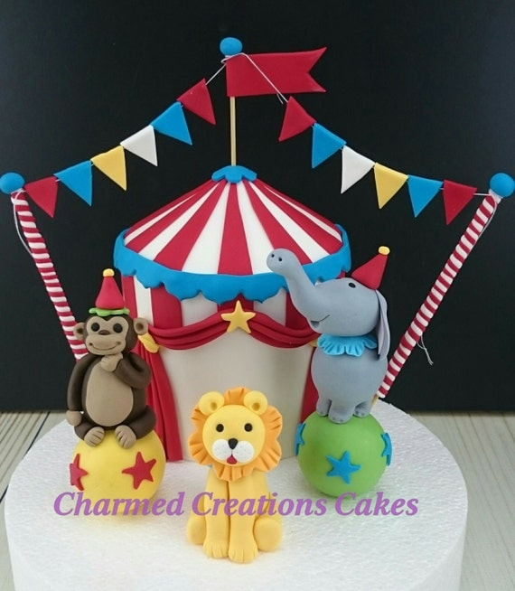 Circus Tent Animals with Bunting Cake Topper edible fondant icing. Edible hand crafted Circus Tent Circus Animals with bunting. & Circus Birthday Party Edible Cake Decorations | Birthday Wikii