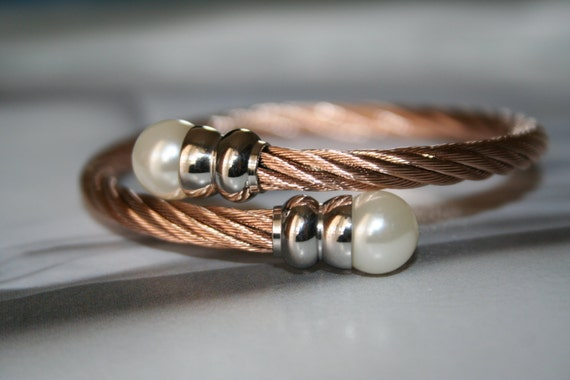 Stainless steel double pearl bangle bracelet, Double pearl cuff, twin pearl bracelet, open bangle pearl, 2 pearl cuff, double pearl cuff