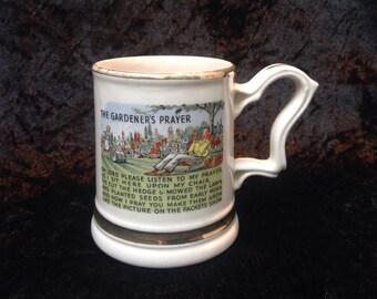 1950s Kitsch English Pottery 'Gardeners Prayer' Beer Mug. Vintage Pottery Mug. Ceramic Pint Beer Mug. Gardeners Tea Mug. Gifts for Gardeners