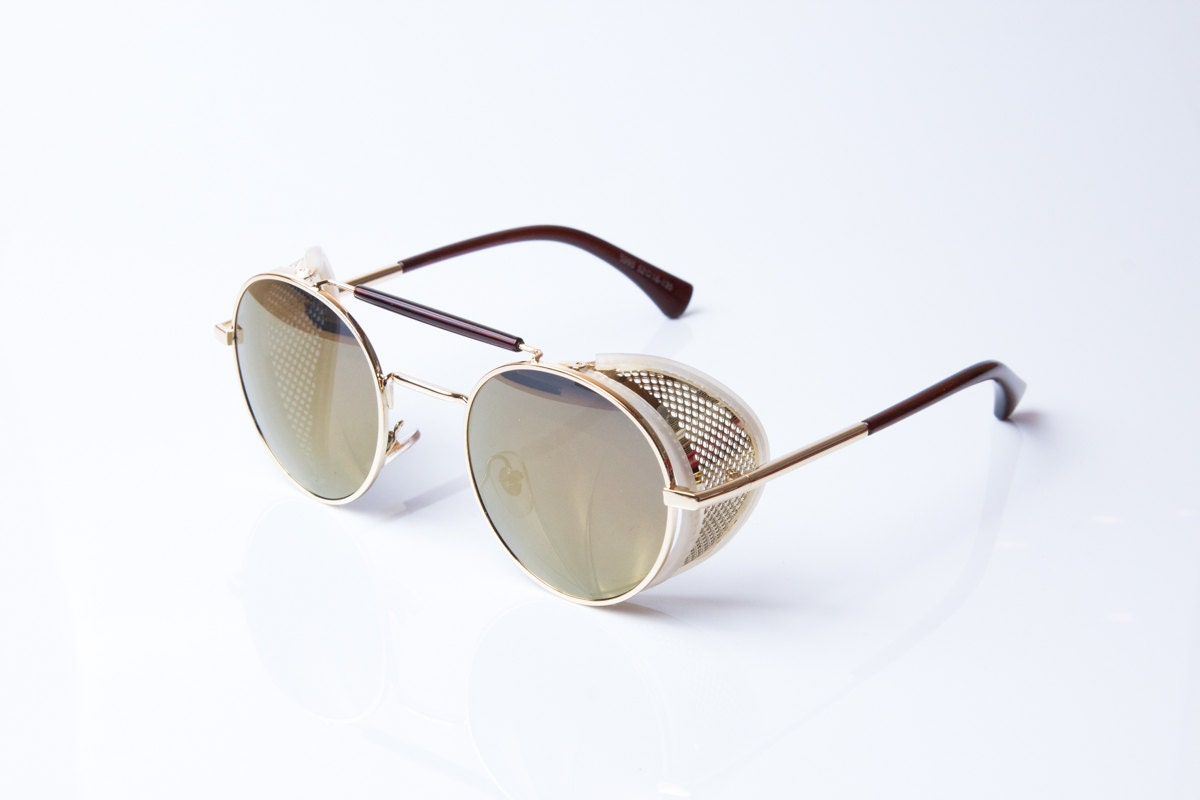 Vintage Round Gold Frame Sunglasses : Round sunglasses vintage in gold metal matte by summershades