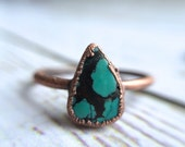 Turquoise ring | Simple stone stacking ring | Turquoise stone ring | Electroformed mineral jewelry | Organic stone jewelry | Mineral ring