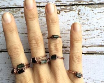 Green tourmaline ring | Green tourmaline crystal ring | Rough tourmaline ring | Raw stone ring | Raw gemstone ring | Raw mineral ring