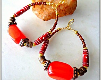 Tribal Hoop Earrings, Amber Earrings, Large Earrings, African Jewelry, Ethnic Jewelry