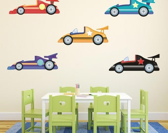Childrens Racing Cars Wall Stickers, Vehicle Wall Decals, Boys Wall Art, Bedroom Wall Transfers - Removable and Repositionable - FA007