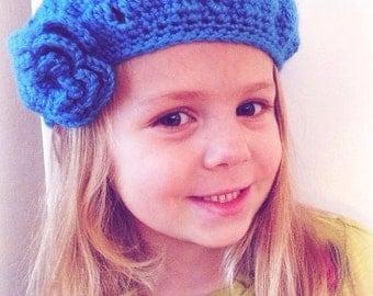 Crochet Beret, Satin Beret, Girls Crochet Beret