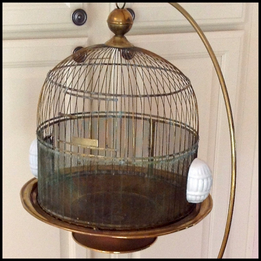 Antique Brass Hendryx Bird Cage With Stand