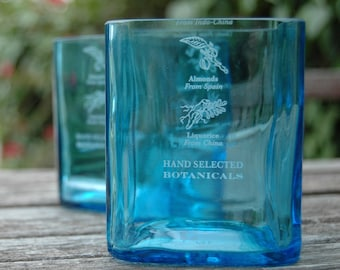 One Bombay Sapphire Gin Rocks Glass | Upcycled Recycled Repurposed Glassware Tumbler