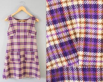 Vintage Purple Plaid Dress with Pockets Size S/M