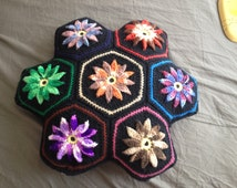 Colorful Knit Pillow - hexagonal flower design - 19 inches wide - great condition