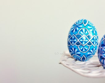 New 2015 Designs - Blue hand painted Easter egg