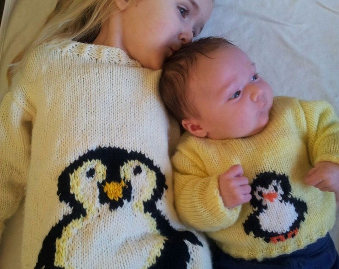 Penguin Sweater and Hat  Knitting Pattern,  Boy and Girl Knitting Pattern, Penguin Knitting Pattern, Baby , Toddler, Child, Download, PDF