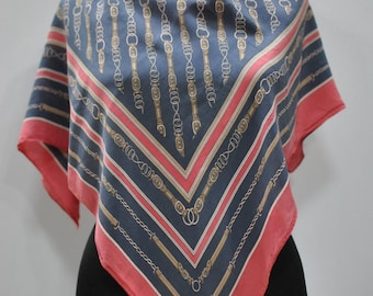 Vintage FELICIANI  printed silk scarf ....(688)