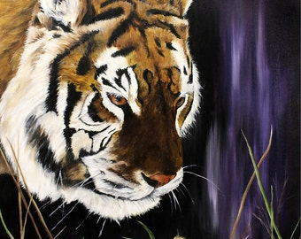 "Tiger, Cat, Mouse, wildlife Original Oil Painting 12"" x 16"""