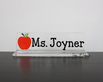 Personalized Desk Name Plate - Great Teacher Gift - Apple Nameplate