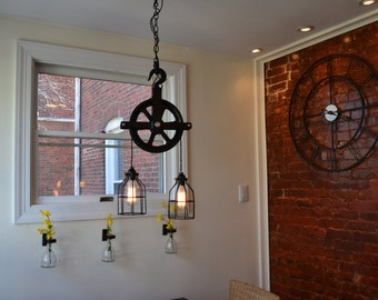 industrial pulley light barn vintage lighting fixture kitchen fixtures f