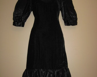 Black Velvet  Dress With Satin Puff Sleeves And Satin Ruffled Bottom