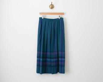 vintage 70s pendleton plaid wool midi skirt