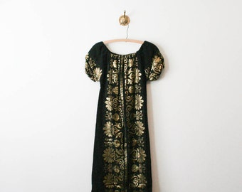 vintage 70s gold leafed embroidered peasant dress