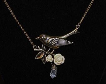 Antique Brass Bird Necklace