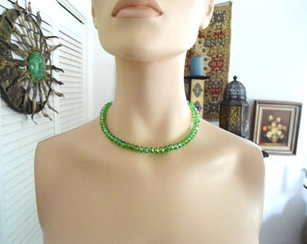 Green Choker Sparkly Crystal Necklace Cowgirl Boho Bohemian