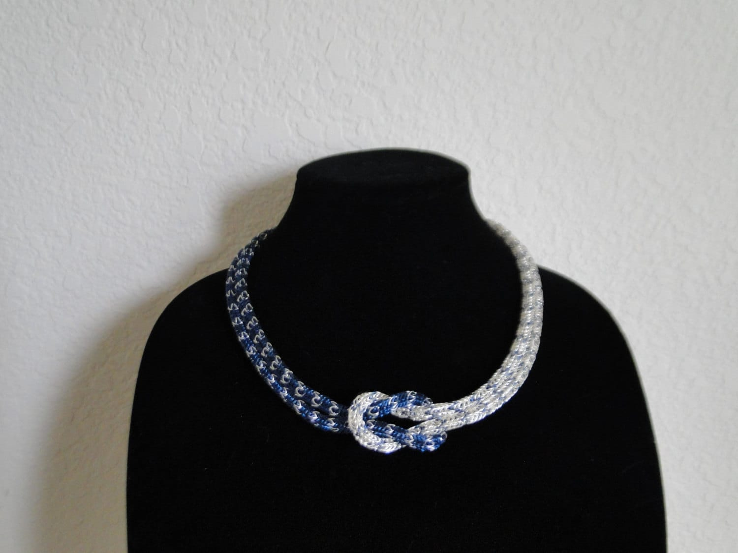 Knitting Starting Knot : Viking knit love knot necklace statement blue sapphire silver