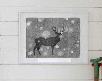 Buck Silhouette Print 8 x 10, Buck Art, Silver, Print Series, Winter Print, Woodland Decor, Forest, Rustic Decor, Winter Decor, Snowing