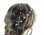 Bridal Pearls Headband - Silver Tone Wedding Hair Piece - Bridal Hair Accessories - Wedding Headband