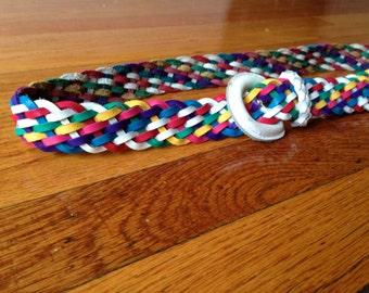 Vintage Rainbow Belt - Woven Leather Belt Rainbow Leather Belt Waist Belt White Belt Rainbow Genuine Leather Braided Belt Hippie Festival