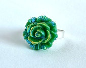 Rainbow Rose Ring; Resin Cabochon Ring; Rose Jewelry; Green Flower Ring; Aurora Borealis Ring; Adjustable Ring; Floral Jewelry; AB Rose Ring