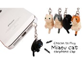 30%OFF Grey Black White Little Cat Kitty Dust Plug 3.5mm Phone Plug iPhone 4S 5 SE 5S 6 Plus Dust Plug Samsung Charm Headphone Jack Ear Cap