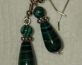 "Cynthia Lynn ""EVERGREEN"" Silver Created Malachite Beaded Teardrop Earrings 1.5"""