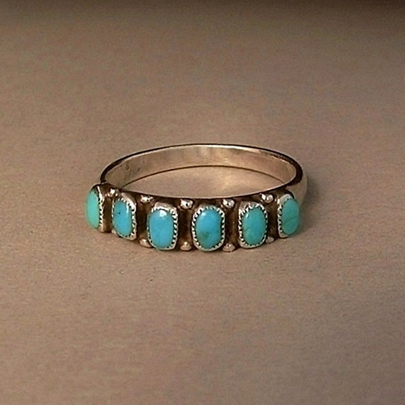 old pawn vintage native american navajo turquoise ring band