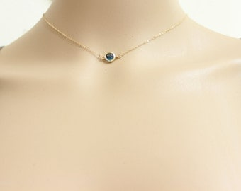 Blue sapphire necklace, tiny dot necklace, simple necklace, everyday,  thin necklace, bridesmaid necklace, children necklace