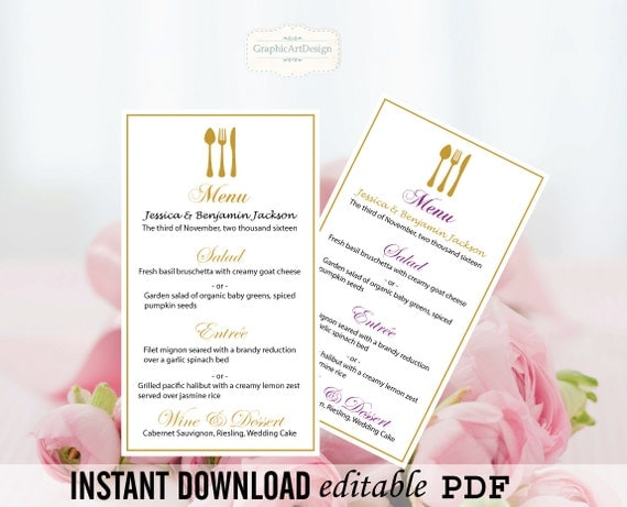 wedding menu card editable pdf template 4x7 gold fork. Black Bedroom Furniture Sets. Home Design Ideas