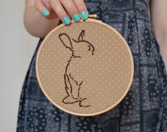 "Bunny Rabbit Embroidery Hoop, Wildlife Embroidery, Woodland Embroidery, Hand Embroidered Wall Hanging (6"" Embroidery Hoop)"