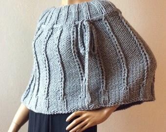 Knit Poncho Woman, Sweater Poncho, Capelet, Shawl, Chunky Poncho