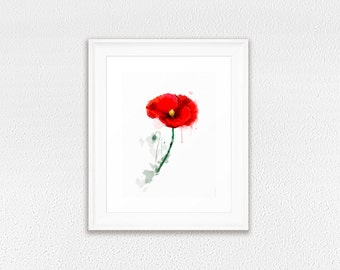Framed Art Print, Red Poppy print, watercolor flower home decor, GICLEE PRINT in frame, modern red flower wall art decoration