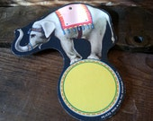 """Vintage Circus Elephant Tag - 7"""" Die Cut Paper Hanger"""