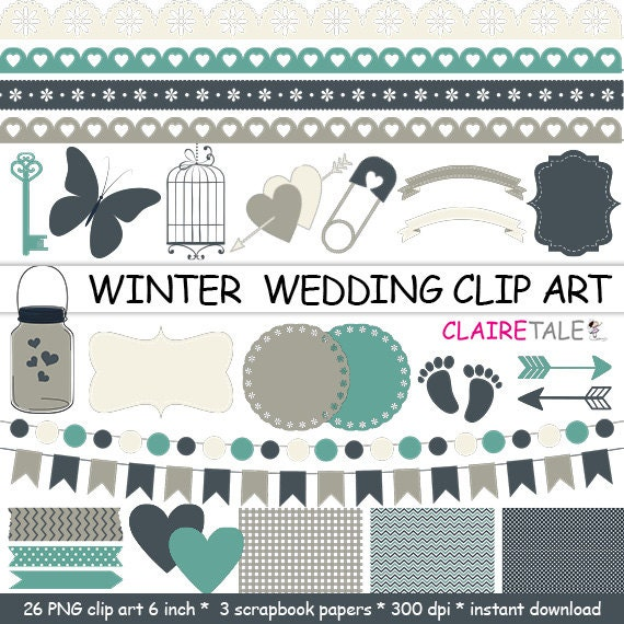 WINTER WEDDING CLIPART frames, labels, ribbons, borders, flags, arrows, butterfly, lights, hearts, mason jar, key, bird cage, baby shower