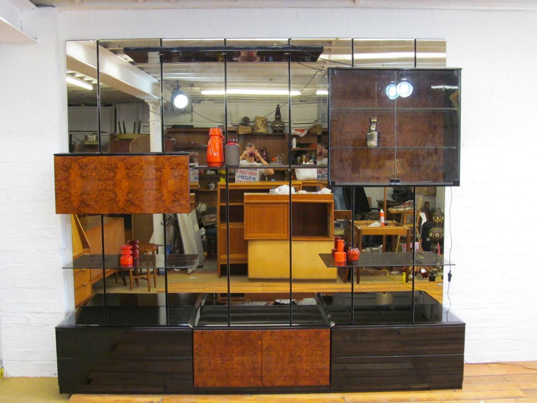 Large mid century danish modern walnut wall unit for Modern wall bar unit