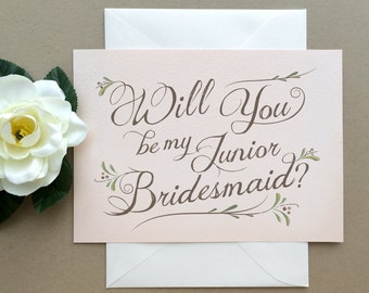 Junior Bridesmaid Card -  Will You Be My Junior Bridesmaid? Card -  Bohemian Chic Blush Pink