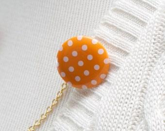Sweater Clip - Mandarin Orange Polka Dot Sweater Guard